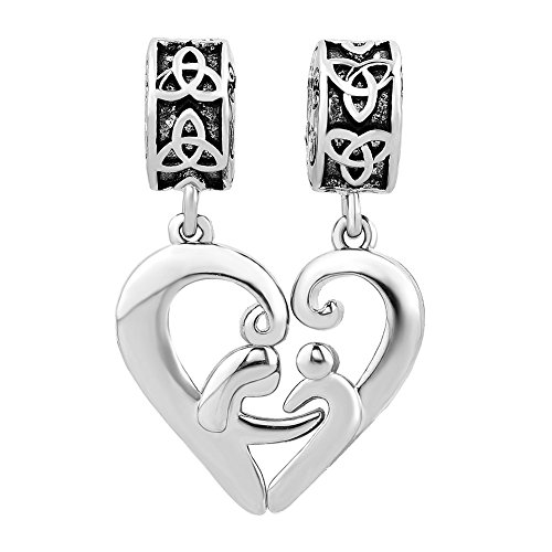 Q&Locket Matching Heart Irish Celtic Knot Charms Dangle Mother Daughter Charm Beads for Bracelets (Hug Mother Daughter Son)
