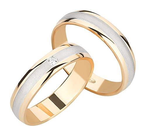 Ardeo Aurum Trauringe Damenring und Herrenring aus 375 Gold bicolor Gelbgold Weißgold mit 0,02 ct Diamant Brillant Eheringe Paarpreis