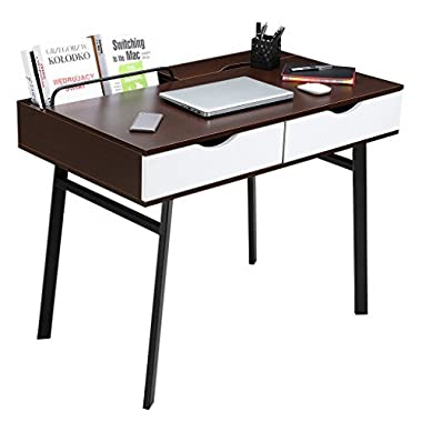 LANGRIA Computer Desk Gaming Table PC Laptop Workstation with 2 Spacious Drawers and Storage Compartments Cable Declutter for Study Simple Home Office Furniture 39''x 23''x 29.5 (Black Walnut & White)