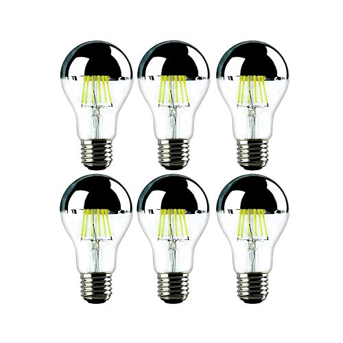 6 X G60 Globe Lampadina filamento a LED con specchio la metà cromo (colore: argento trasparente) LED proiettore 750 Lumen, sostituisce 80 W 5500 Kelvin testa lampada specchio E27 testa a specchio