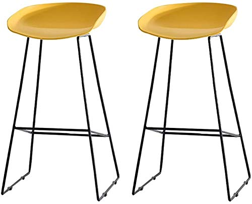 WENLI Adjustable Barstools Armchairs Retro Bar Stool Handcrafted 100% Heavyweight Plastic Seat Metal Legs,7 Colors Counter Bar Chairs (Color : Yellow)