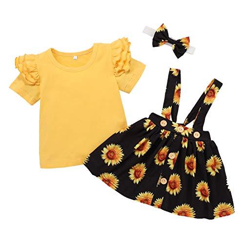 Kleidung für Neugeborene, Babys, Mädchen, süßer Stil, Rüschen, kurzärmelig, bedruckt, knielang, 1 Oberteil + 1 Rock + 1 Haar-Accessoire-Set Gr. 92, 2-gelb
