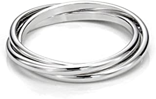 Sterling Silver Triple Interlocked Rolling High Polish Plain Dome Tarnish Resistant..