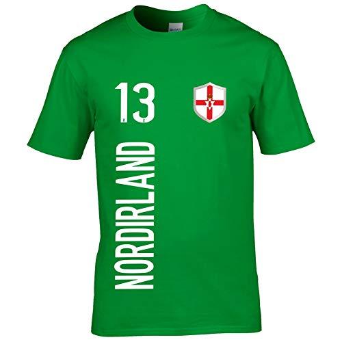 FanShirts4u Kinder Fanshirt Trikot Jersey NORDIRLAND Northern Ireland T-Shirt inkl. Druck Wunschname u. Wunschnummer EM WM (5/6 Jahre 110-116 cm, NORDIRLAND/Grün)
