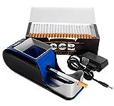 JeVx Maquina Liadora de Tabaco + 200 Tubos con Filtro OCB - Entubador Electrico para LLenado de Cigarros Entubar Cigarrillos de Fumar entubadora Electrica para liar Azul