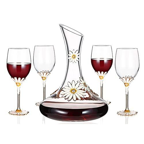 EnweMahi Decanter di Cristallo Bottiglia Amanti del Vino, Decanter Vetro Liquori, Distributore di Whisky Invecchiamento di Quercia Scotch Bourbon Vodka