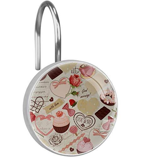 ColorMu Cake Cappuccino Rose Cute Valentine 12er-Set Haken für Duschvorhang – Duschvorhang-Haken aus Edelstahl – hochwertige Vorhanghaken für einfaches Aufziehen – Harz, Glas, Edelstahl