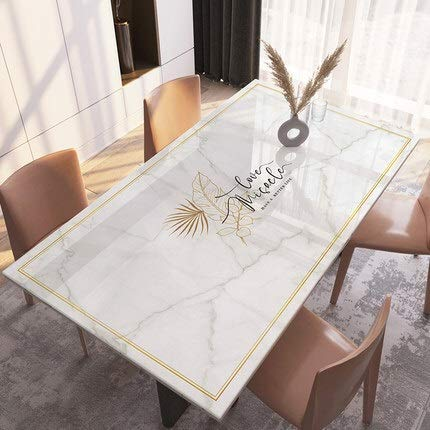 QFWN Nordic Marble Coffee Table Mat PVC Soft Glass Tablecloth Table Pad Home Decor Dining Table Mat Upgrade Tasteless (Color : L, Specification : 80x80cm)