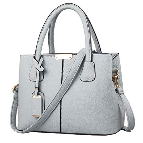 FiveloveTwo Women Classy Satchel Handbag Stitching Satchel Tote Purse Handle Bag Shoulder Bag with Pendant Grey