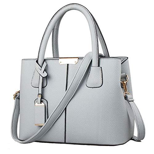 FiveloveTwo Women Classy Shoulder Crpssbody Satchel Handbags Totes Clutch Purse Top-handle PU Leather Bag Grey