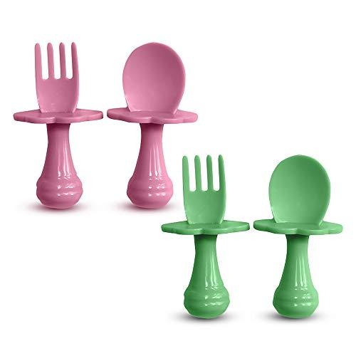 Cuchara para bebé - Tenedor para bebé - Cuchara y tenedor para bebé, Multicolor, Juego de cubiertos para alentar a su bebé a comer independientemente, sin BPA. (Pack de 4, Verde/Rojo)