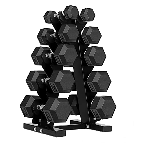 5 - 25LB Hex Dumbbell Set with Rack Rubber Coated Dumbbell Set with Rack 150 Pound Dumbbell Weight Set