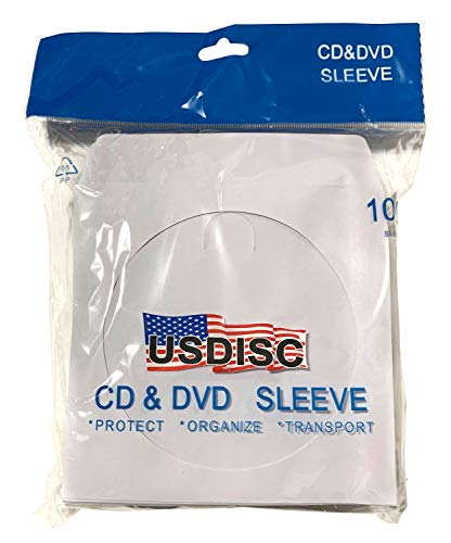 USDISC Paper Sleeves 100g Window, Flap, White, Pack of 100