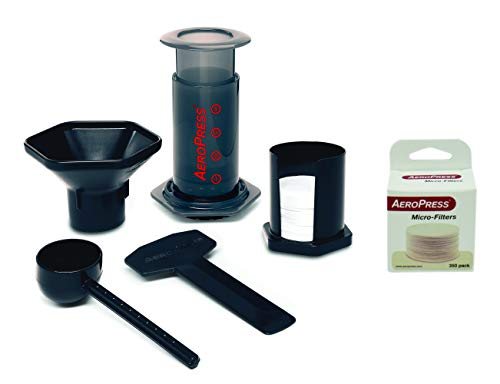 Aeropress Coffee and Espresso Maker Pack with 350 Additional Filters, Brews 1 to 3 Cups, Gray