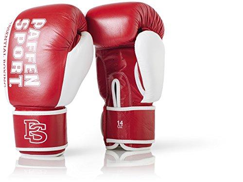 Paffen Sport Essential Echtleder-Boxhandschuhe für das Sparring und Training – rot/weiß – 14UZ