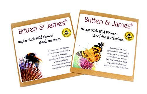 petit un compact Double pack avec des graines de fleurs sauvages Britain and James pour abeilles et papillons RHS…