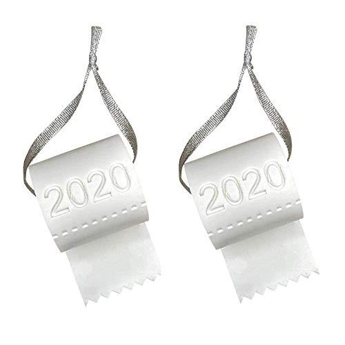 COMIOR 1/2/3/4/5 Stück Anhänger Papier Weiß Plastik Rollenpapier Deko 2020 Weihnachten Weihnachtsbaum Leichtghtweight Baumschmuck Geschenk Weihnachtsdeko (2 Stück, B)
