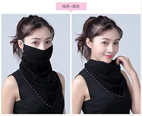 Lente en zomer Zonnebrandcrème Sjaals Nek voor dames Ademend Volledige dekking Gezicht Anti-Si Gezichts Anti-ultraviolet Chiffon Dunne sjaal Zwart chiffon