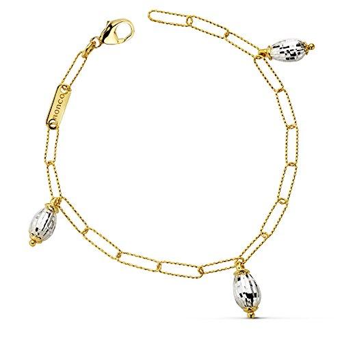 Alda Joyeros Pulsera de Mujer Oro Bicolor 18k Eslabones y Abalorios