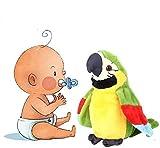 IPENNY - Juguete de loro de peluche que imita el sonido y marcha automáticamente un loro que puede acompañar a los niños y ejercer en hablar, 21 x 10 cm
