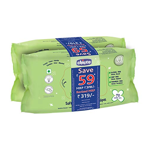 Chicco Baby Moments Soft Cleansing Baby Wipes, Ideal for Nappy, Face and Hand, Dermatologically tested, Paraben free, Sticker Pack (Pack of 2, 72 sheets per pack)