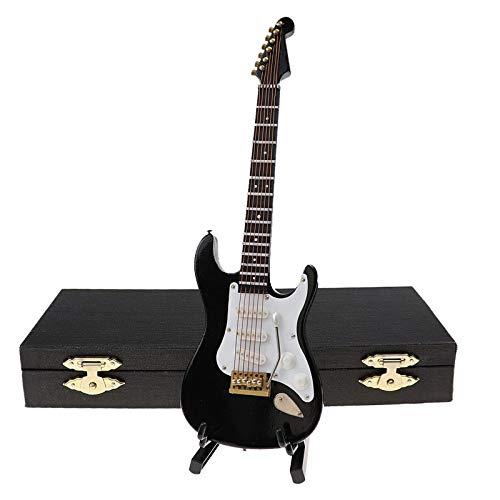 DirkFigge Mini Classical Guitar/E-Gitarre Modell mit Stand Case Miniatur Replica Gitarren Instrument Holiday Desk Ornament Dekoration Weihnachtsgeburtstagsgeschenk