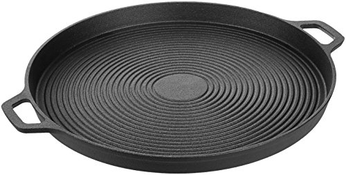 AmazonBasics Pre-Seasoned Cast Iron Pizza Pan, 13.5 Inch