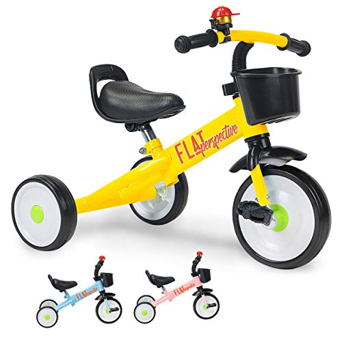 Flat Perspective Kids Trike 3 Wheels - for Children, Baby Tricycle for 2-5 Years Old, 15.5 Inches for Toddler Boys Girls, Blue Kindercraft Trike with Storage Basket (Yellow)