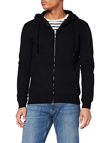FM London Hyfresh Zipped Capucha, Negro (Black 01), Large Hombre