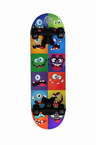 skateboard junior Skatemax Skateboard Junior per Bambini da 5-10 Anni (Monster Face)
