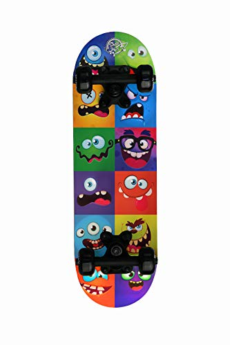 Skatemax Skateboard Junior per Bambini da 5-10 Anni (Monster Face)