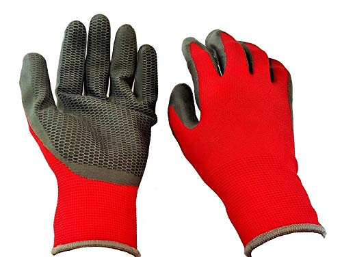 Firm Grip Tough Work Gloves Honeycomb Latex Coated, Large, 3-Pack