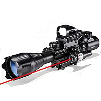 Rifle Scope Combo 4-16x50EG Dual Illuminated with Laser Sight and 4 Holographic Reticle Red/Green Dot for 22mm Weaver/Rail Mount  Red Laser
