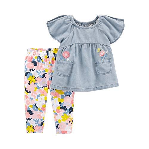 2-tlg. Set Jeans-Tunika Flügelarm und Leggings Blumen