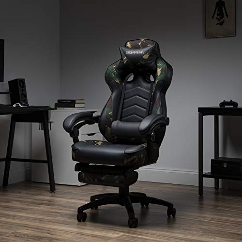 RESPAWN RSP-110 110 Racing Style Gaming, Reclining Ergonomic Leather Chair with Footrest, in Forest Camo (RSP-110-FST)