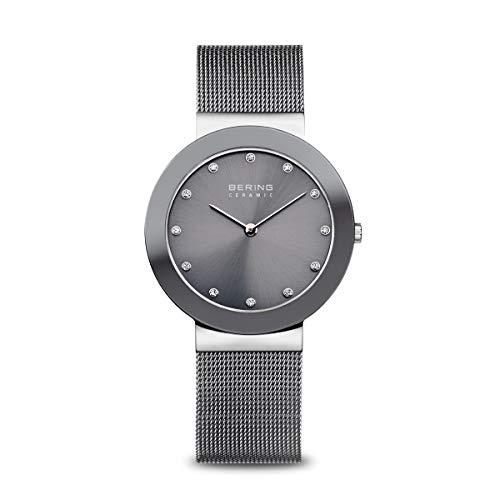 BERING Damen Analog Quarz Uhr mit Edelstahl Armband 11435-389