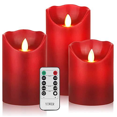 """YIWER Velas sin llama 4""""5""""6""""Juego de 3 pilas de plástico de cera real no de plástico control remoto de 10 teclas con función de temporizador de 2/4/6/8 horas 200 horas(rojo)"""