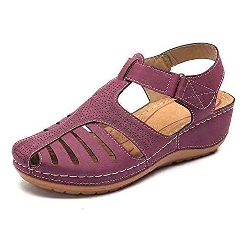 Mujeres Sandalias,Verano Mujer Tamaño Plus Talones Sandalias,Cuñas Zapato Casual Gladiador Zapatos Morado 40 EU