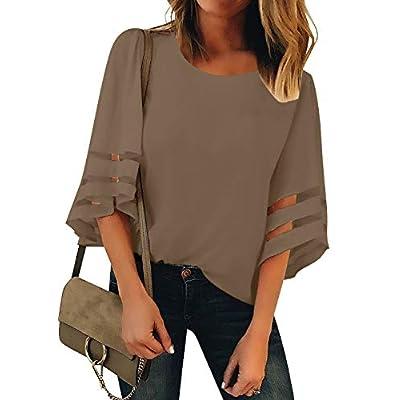 Amazon - Save 50%: LookbookStore Women Casual Crew Neck Shirt Top 3/4 Bell Sleeve Mesh Pan…
