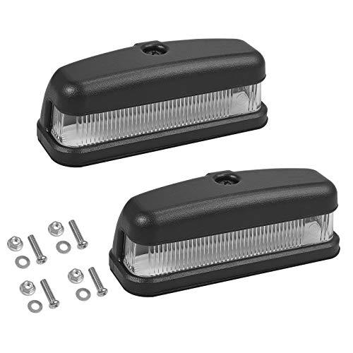 Justech 2PCs 6LED Luces de Matrícula para Coche LED Lámpara de Placa para Remolque de 12V 24V Impermeable IP67 Iluminación de Placa de Matrícula con E-Mark para Coche Remolque Camión Camioneta