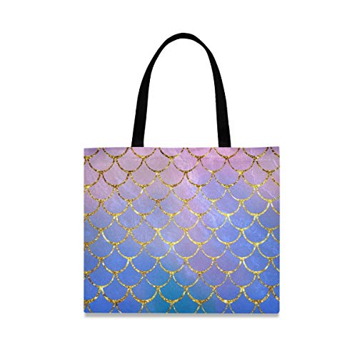 Canvas Tote Bag Mermaid Fish Scales Shopping Cloth Bag Reusable Grocery Bag Shoulder Bags