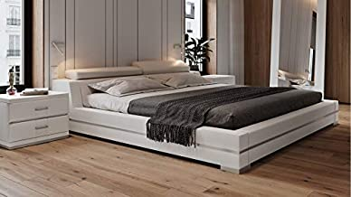 Hera Genuine White Leather Platform Bed with Adjustable Headrests - Queen