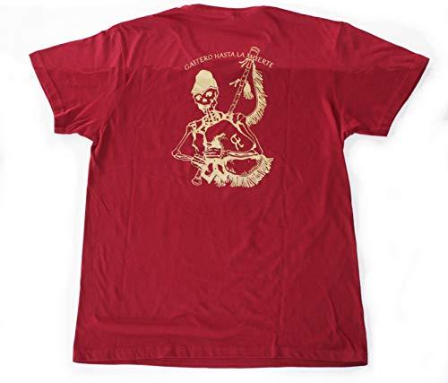 Gaitas Eduardo Represas Camiseta Granate con Esqueleto Tocando la Gaita