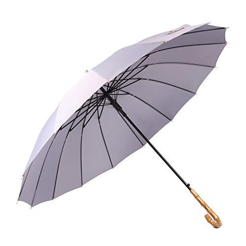 Lanker - KS08P Paraguas grande que se abre y se cierra de forma manual con 16 varillas, duradero y resistente con fibra 210T impermeable, resistente al viento gris gris