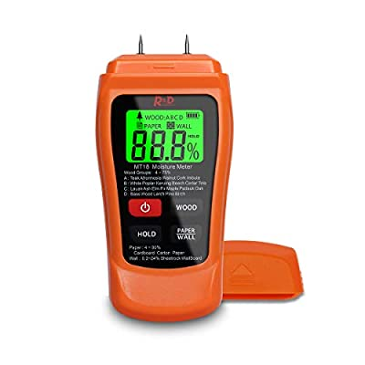 Wood Moisture Meter Reddragon MT-18 Two Pins Digital Wall Moisture Detector Paper Humidity Tester for Wood Building Material Firewood Walls Paper Floor (Orange)