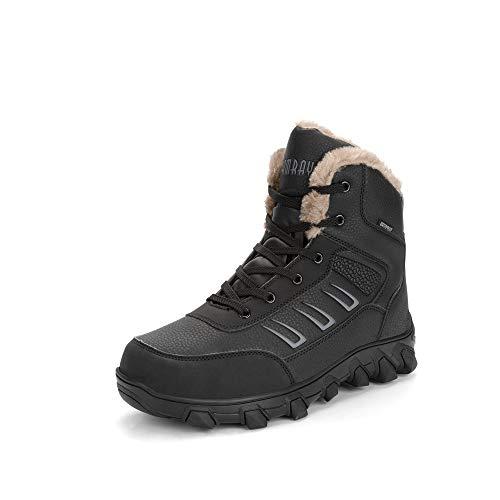 Hombres Botas de Senderismo Impermeable Invierno Zapatos de Trekking Deportivos Cámping Nieve Botines Negro Marrón Negro 43