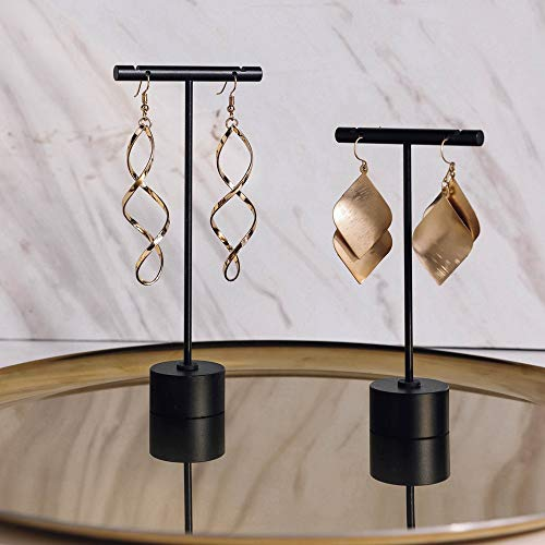 GemeShou Black Metal 2pcs Earring T Stand Jewelry Display for Show, Retail T Bar Earring Stand, Jewelry Photography Display for Show?Black-Round Base 2pcs Height 4.5 and 5.3?