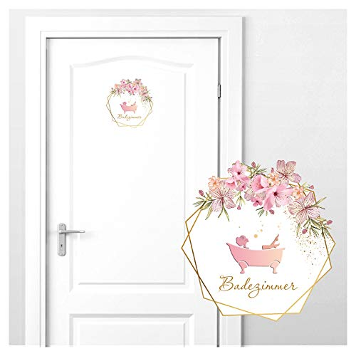 Grandora Türaufkleber Badezimmer mit Blumenranke I 18 x 19 cm (BxH) I Wandsticker selbstklebend WC Wandaufkleber Toilette Wandtattoo Sticker DL440