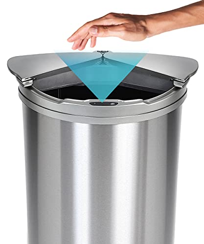JOBSON(ジョブソン) 自動開閉ゴミ箱 ゴミ箱 自動ゴミ箱 【 賢いゴミ箱™ 】 47L ( 45リットル 対応) センサー 自動 横 スライド スリム ダストボックス おしゃれ 自動 開閉 ふた付き 消臭 シルバー JB03 [ メーカー2年保証 ]