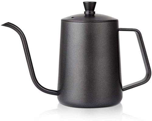 Simple and Creative Kettle for Coffee and Tea 600Ml Teflon Coating Stainless Steel Gooseneck Coffee Spout Drip Pot Pour Over Long Narrow Mouth Coffee Pot Teapot,Size:600Ml,Col, lsxysp, Black, 600